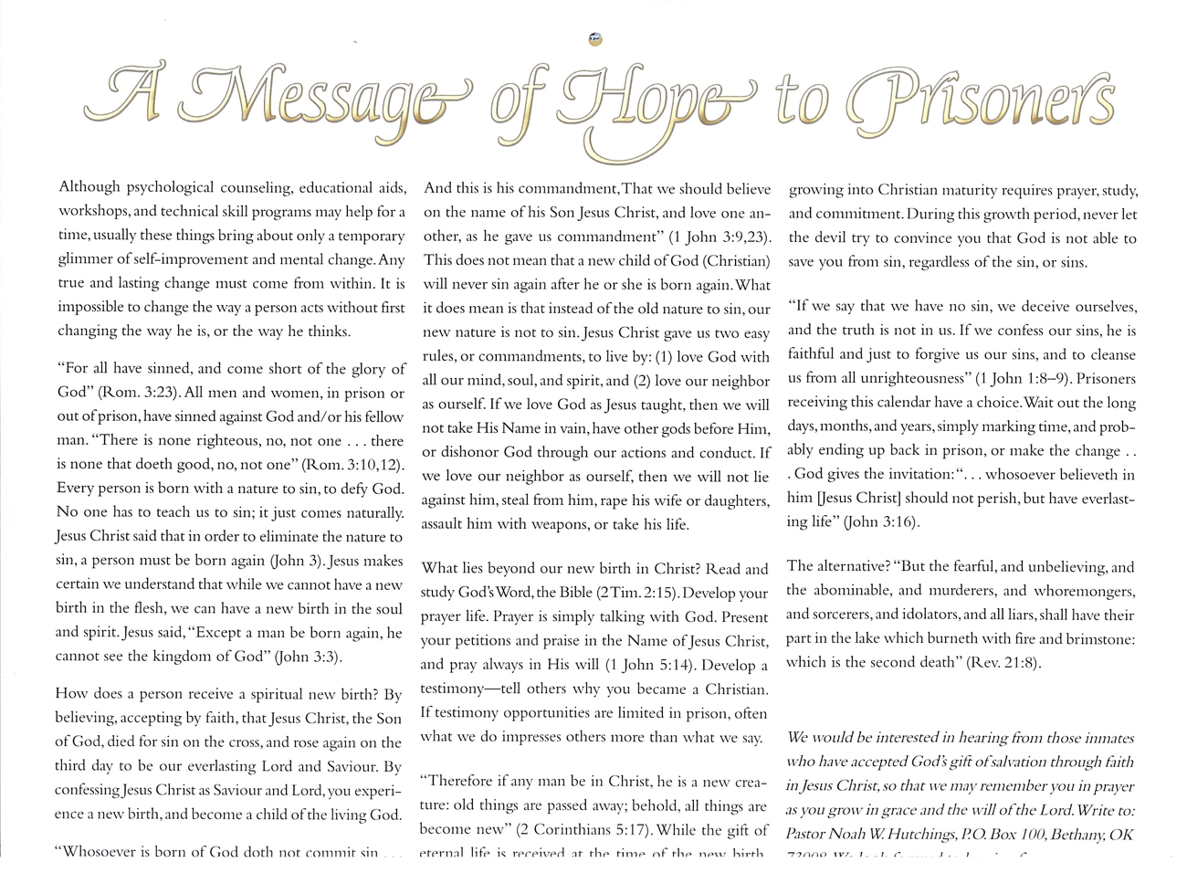 2012 Prophecy Calendar: A Message of Hope to Prisoners
