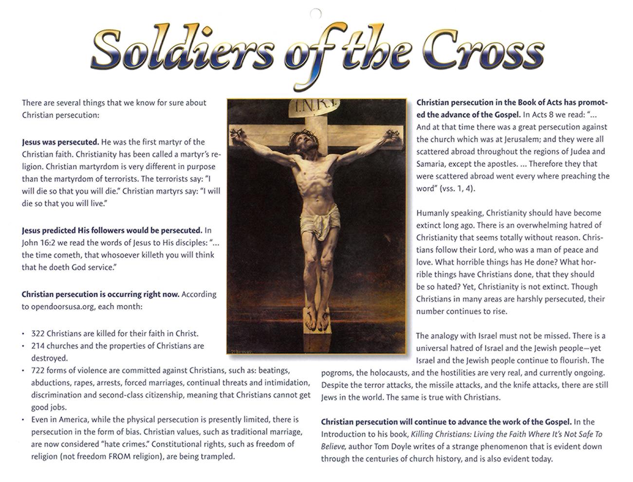 2016 Prophecy Calendar: Soldiers of the Cross
