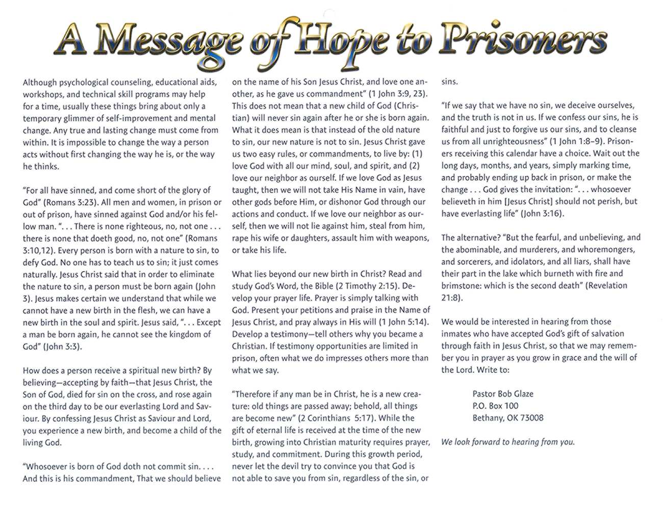 2016 Prophecy Calendar: A Message of Hope to Prisoners