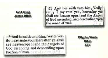 Picture Comparing John 1:51 from the 1611 King James Version and the 2004 Pilgrim Bible